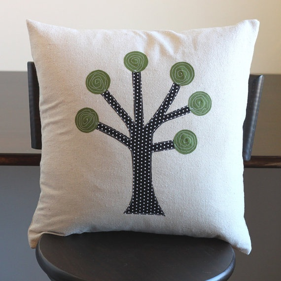 tree applique pillow cover by 645workshop on Etsy, $30.00