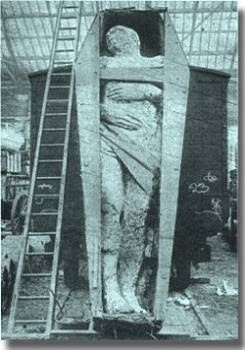 """The fossilized Irish giant from 1895 is over 12 feet tall. The giant was discovered during a mining operation in Antrim, Ireland. This picture is courtesy """"the British Strand magazine of December 1895″ Height, 12 foot 2 inches; girth of chest, 6 foot 6 inches; length of arms 4 foot 6 inches. There are six toes on the right foot"""