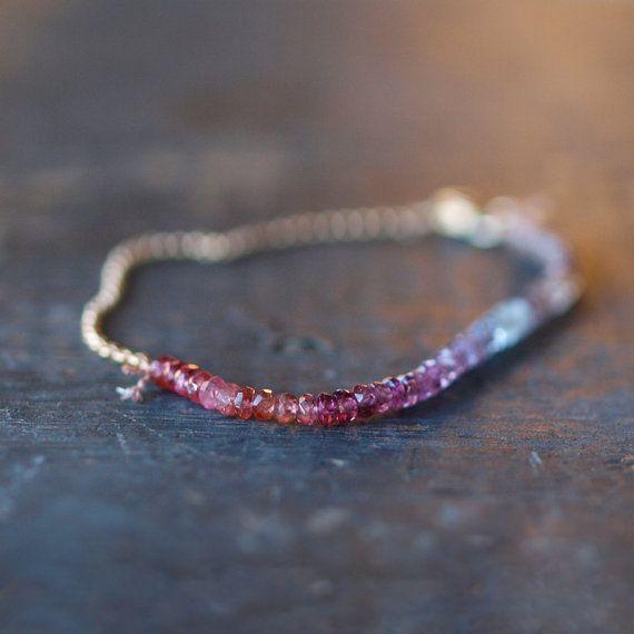 Perlen Armband Saphir Array, Ombre Effekt Armband, echten Edelstein Farbspektrum, Saphir-Armband 14 k Gold gefüllt Armband