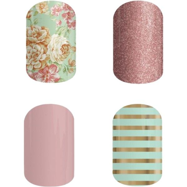 A beauty collage from March 2015 Vintage Chic, Rose Gold, Daydream & Mint Green & Gold Stripe. Order at: oohlalanailz.jamberynails.net