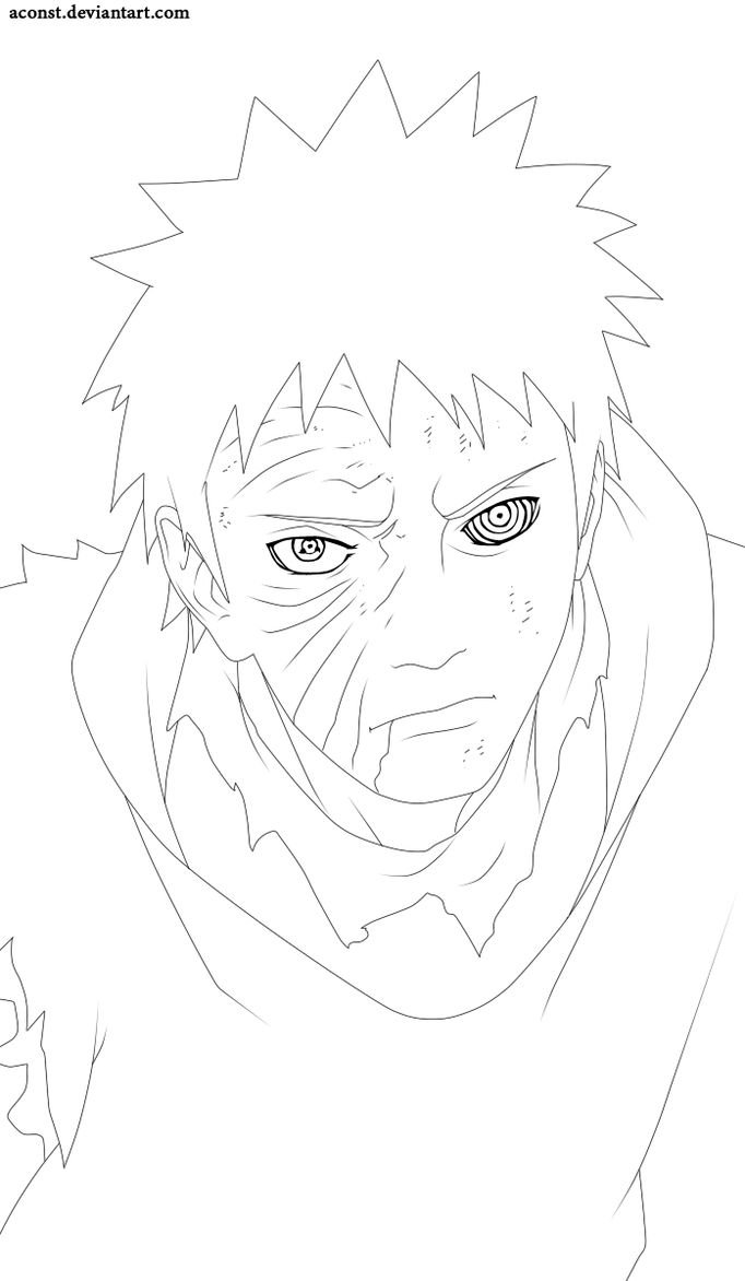 Tobi lineart by aConst  Naruto uzumaki art, Manga coloring book