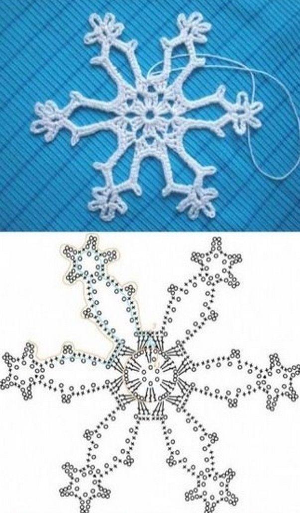 Как связать снежинки крючком