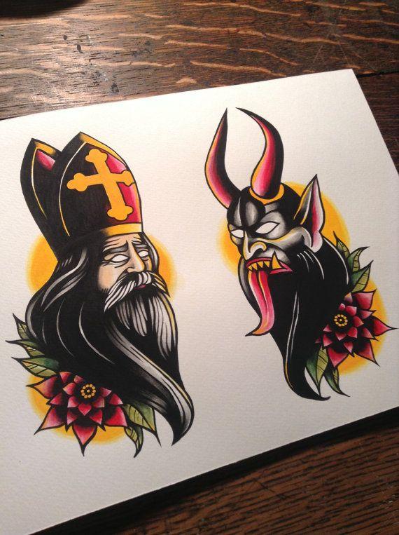 Saint Nicholas & Krampus tattoo flash print van BosWorkshop op Etsy