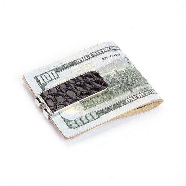 Royce New York Luxury Alligator Money Clip | Bluefly.Com ($40) ❤ liked on Polyvore featuring men's fashion, men's accessories, men's money clips, accessories, menswear, money, black, filler, mens leather accessories and mens leather wallet with money clip
