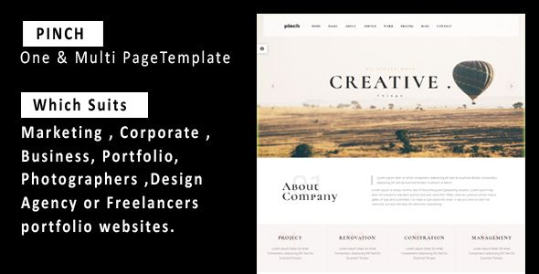 """Pinch - One & Multi Page Responsive  Portfolio , Corporate, Business, Creative  & Blog Template . """" Pinch"""" is a Modern, Unique Multipurpose and  One-Page Business HTML Template for Creatives which suits any marketing , corporate , business, portfolio, photographers ,  Design Agency or freelancers portfolio websites. It contains easy and fully customizable, well-organized"""