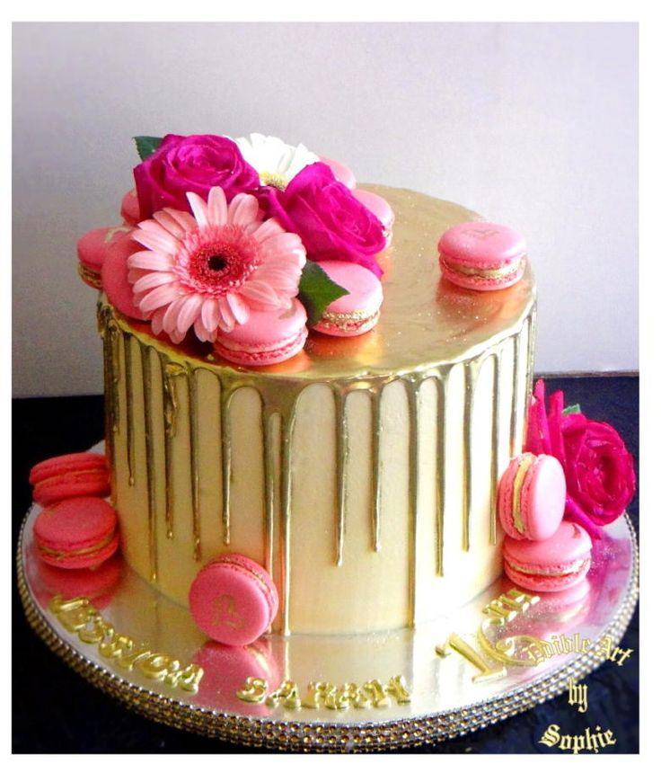 chocolate ganache  vanilla cake  gold dust  Gold drip cake - Cake by sophia haniff