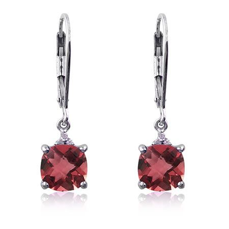 Red Garnet & Diamond Birthstone Earrings