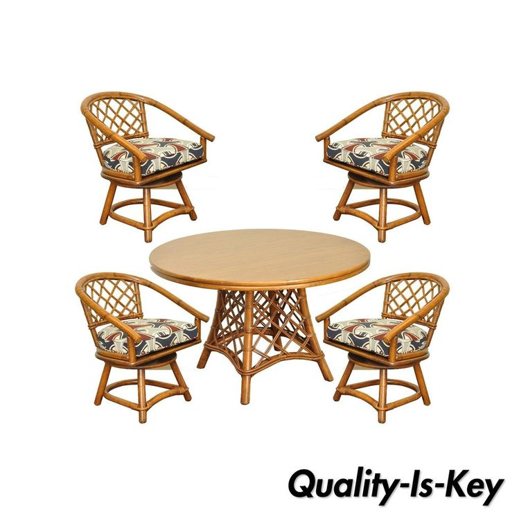 Vtg Ficks Reed Mid Century Modern Rattan Bamboo Dining Set Round Table 4  Chairs