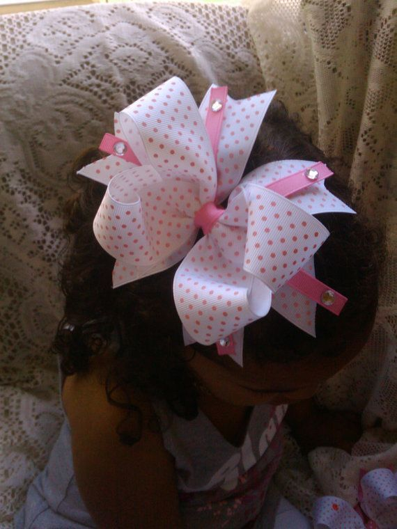 Pink polka dot boutique hairbow by kikibowz on Etsy, $5.00: