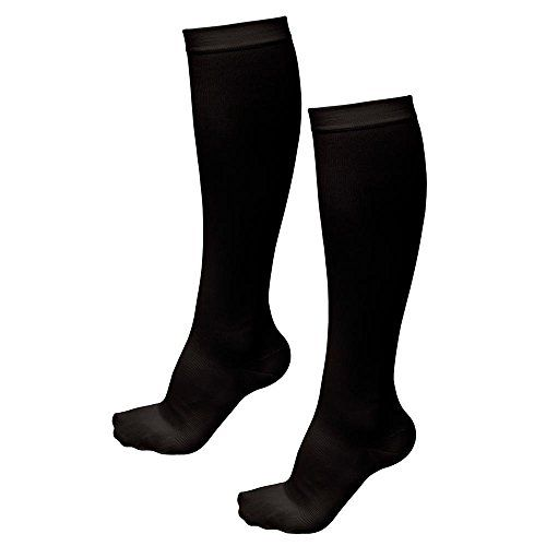 TASOM Compression Socks Over the Calf Below Knee Anti Fatigue Antimicrobial Sock Stockings For Men Woman Foot Feet Ankle Heel Pain Ache Swelling Relief  1 Pair Black SmMed -- ** AMAZON BEST BUY **