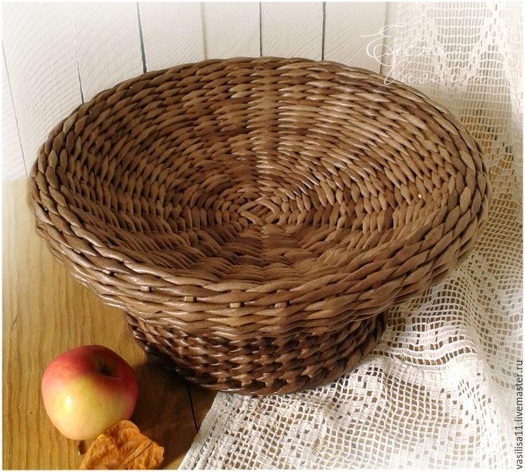 """Купить Ваза для фруктов плетеная """"Щедрое лето"""" - фруктовница на ножке, плетеная ваза, для фруктов, для выпечки"""