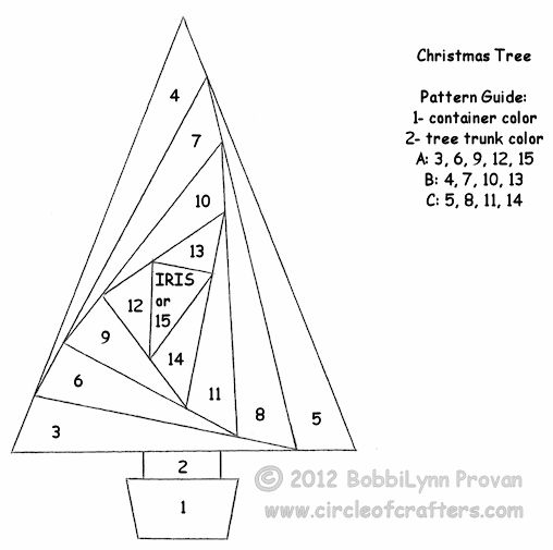 iris folding pattern for a triangle tree ... free printable iris folding patterns ...