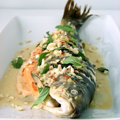 trout, steamed the Thai way (yum!)