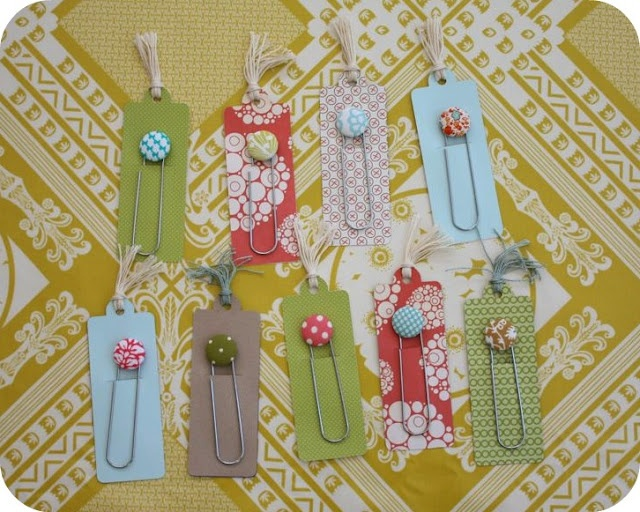Fabric button bookmarks! I've been searching EVERYWHERE for the large paperclips! love these :)