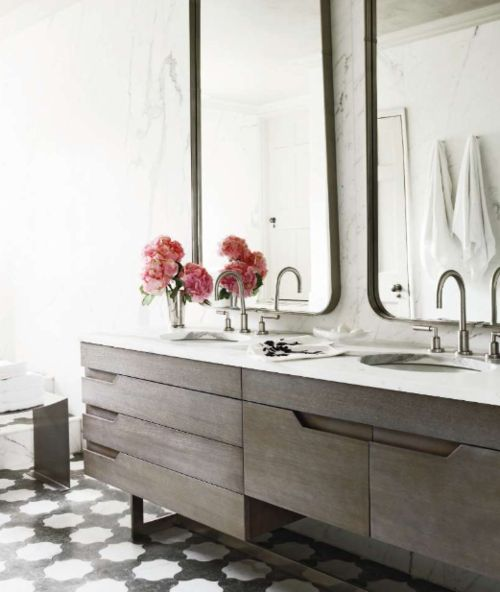 Love this floor and cabinets. Rectangular mirrors with curved corners are perfection!