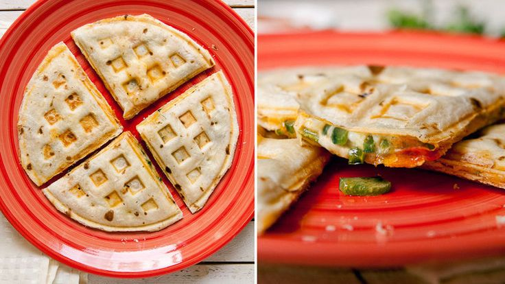 Waffle Iron Quesadillas - a quick way to make a quesadilla in your waffle maker! : tablespoon