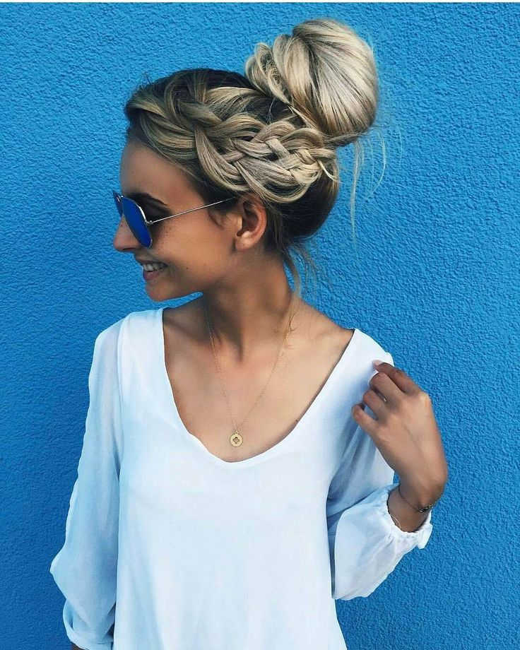 Side crown braid with a high messy bun hairstyle - Updo Hairstyles to try this summer – 14 different hair buns