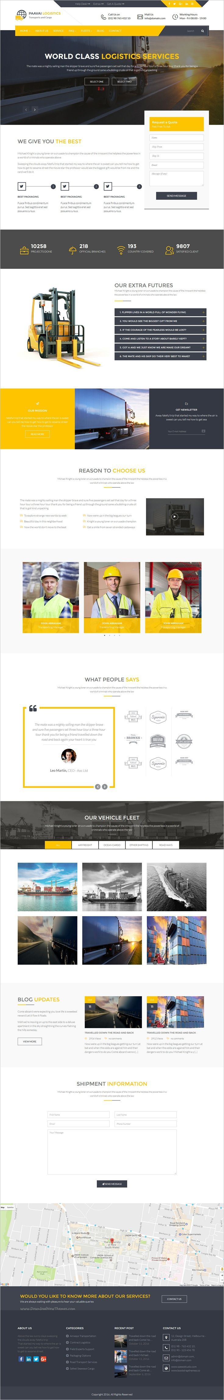 Paavai Logistics is a fresh and unique 3in1 #WordPress Theme designed for #Logistics, Cargo and Movers Company websites download now➩ https://themeforest.net/item/paavai-logistics-transport-and-cargo-wordpress-theme/18740617?ref=Datasata