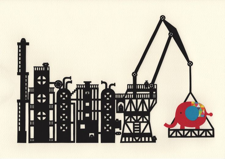 """Factory of an Elephant""   Paper cutting art by chihiro.takeuchi."