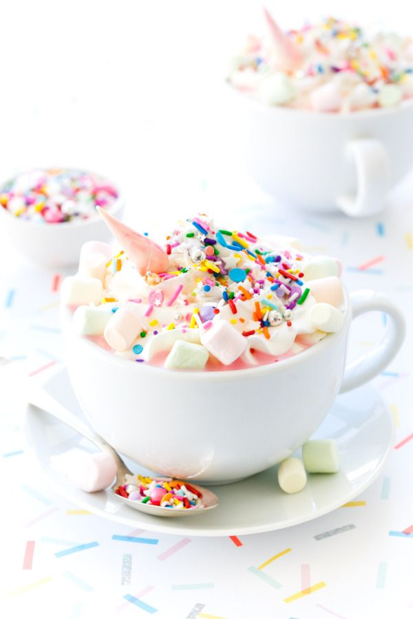 Unicorn Rainbow Hot Chocolate recipe, cute for a kids birthday treat - more at megacutie.co.uk