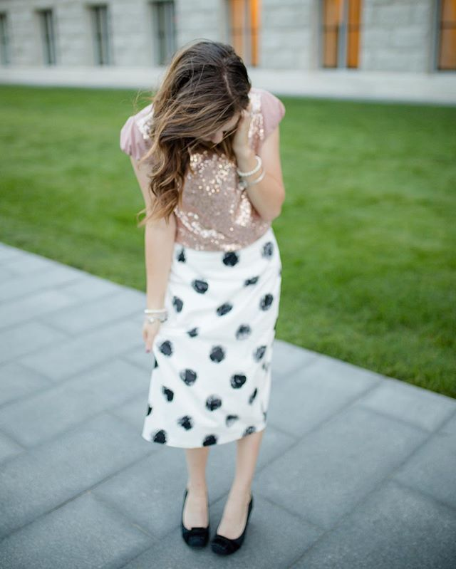 Polka dot pencil skirt with sparkly champagne shirt, perfect modest sunday church outfit