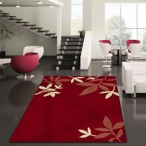Modern+Spring+Leaf+Rug+Red+330x240cm