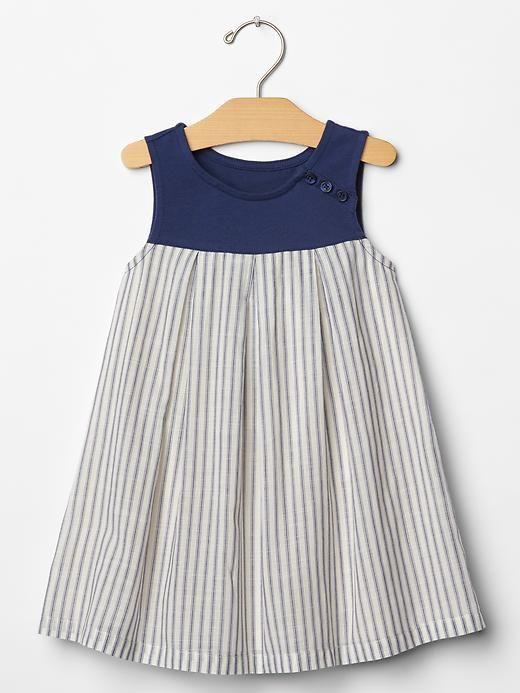Stripe mix-fabric tank dress Product Image