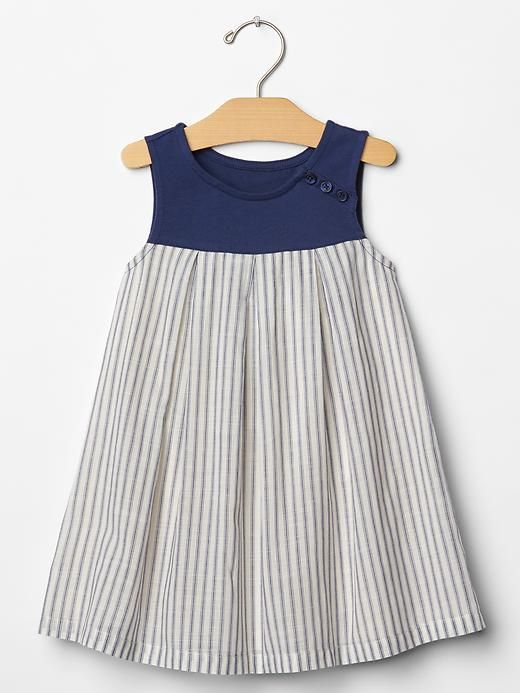 Stripe mix-fabric tank dress