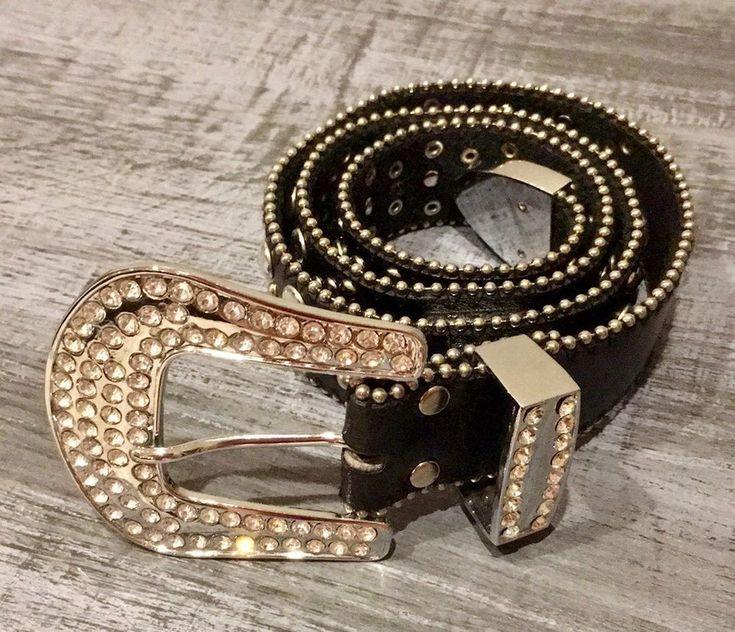 Womens Black Genuine Leather Bling Belt Studded RHINESTONES Size Small EUC  | eBay