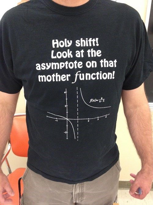 This would be hilarious in a Hugh school class.  Math Teachers Have the Best T-Shirts