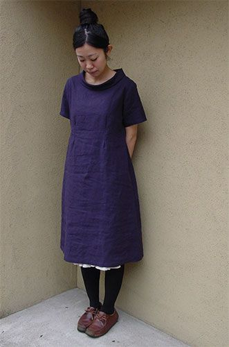 Now available / English version Patterns for No.70 Half Sleeve One-Piece with Roll Collar