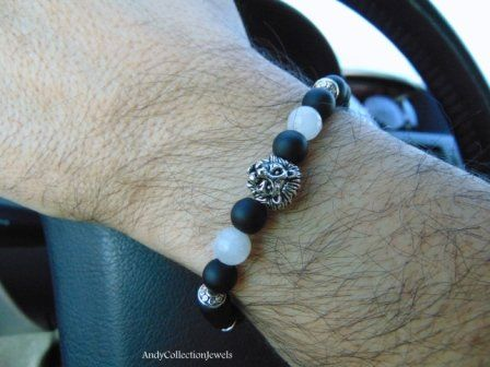 Glamorous Men's Black Matte Agate Wristband with Moonstone and Lion Head