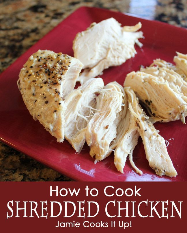How to Cook Shredded Chicken in the Crock Pot from Jamie Cooks It Up!