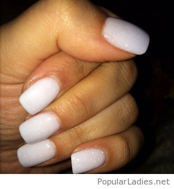 White glitter gel nail design idea