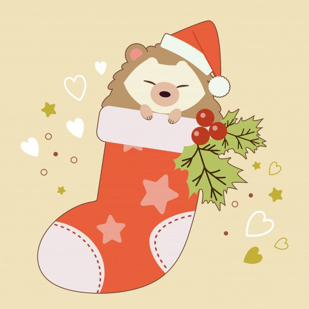 The Character Of Cute Hedgehog Sitting In The Sock With Holly Leaves On The Yellow Background And Heart And Star Christmas Drawing Cute Hedgehog Xmas Wallpaper