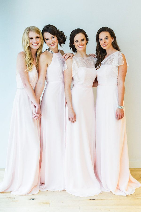 Mix and Match blush bridesmaid dresses from the Wonder by Jenny Packham collection from @davidsbridal http://southernweddings.com/2016/04/11/new-blush-bridesmaid-dresses/