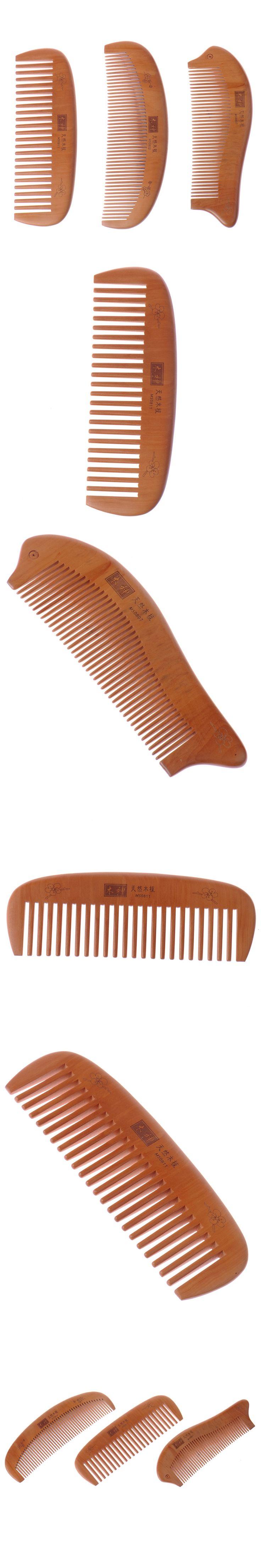 2017 Hot Peach Wooden Comb Natural Health Cushion Massage Hair brush Tangle Beard Combs hair straightener paddle brush