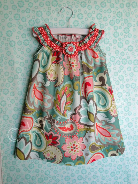 Girls Sundress Verona Teal Gray Coral   Spring by JSuesStudio-Love the colors!