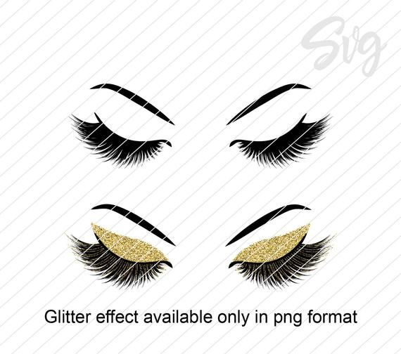Lashes Svg And Png File Lashes With Glitter Effect Png File