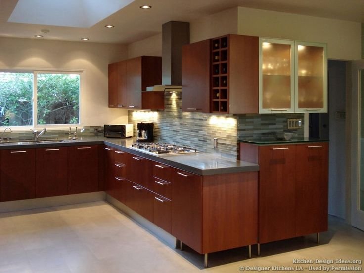 Modern cherry kitchen glass tile backsplash designer for Cherry wood kitchen cabinets