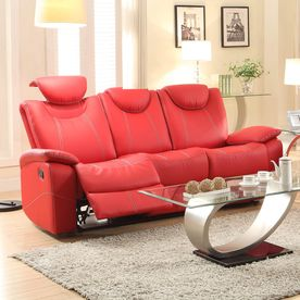 Homelegance Talbot Red Faux Leather Sofa 8524Rd-3
