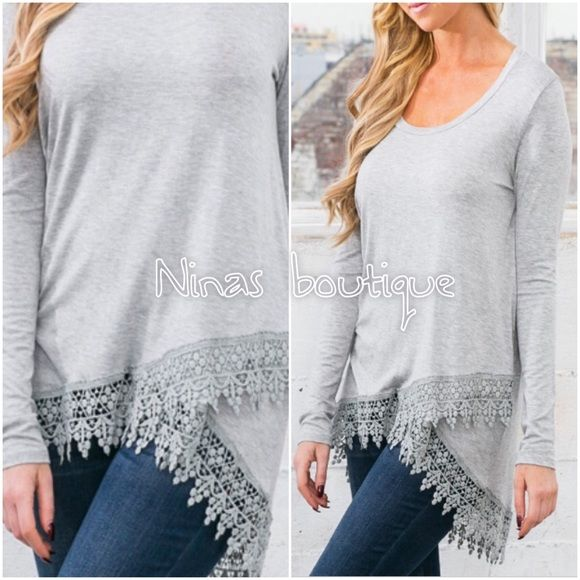 Last one✔️Long sleeve casual tops Long sleeve grey tops with lace detail at hem. Small (2/4) Price is firm unless bundled. Tops