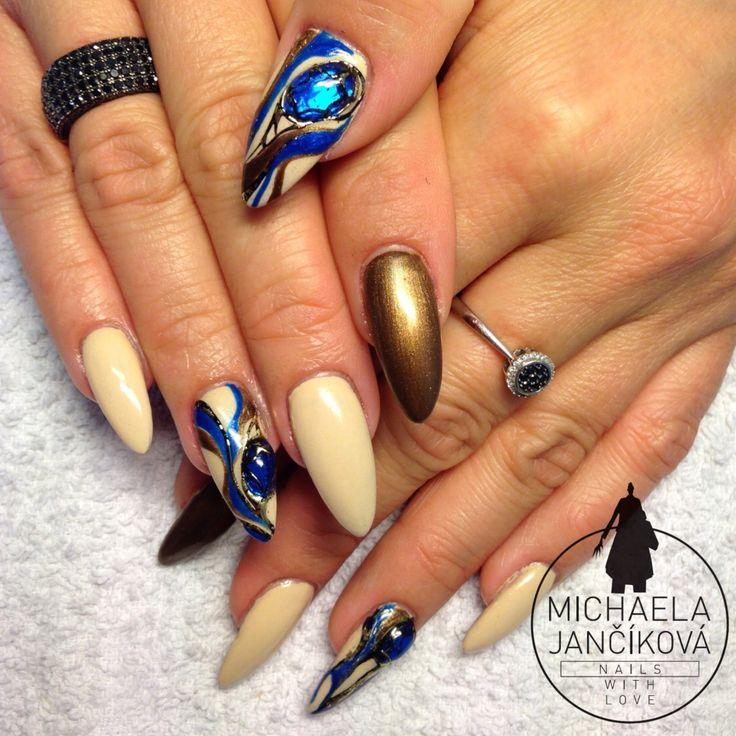 Nail Art, Nails With Liquid Stones