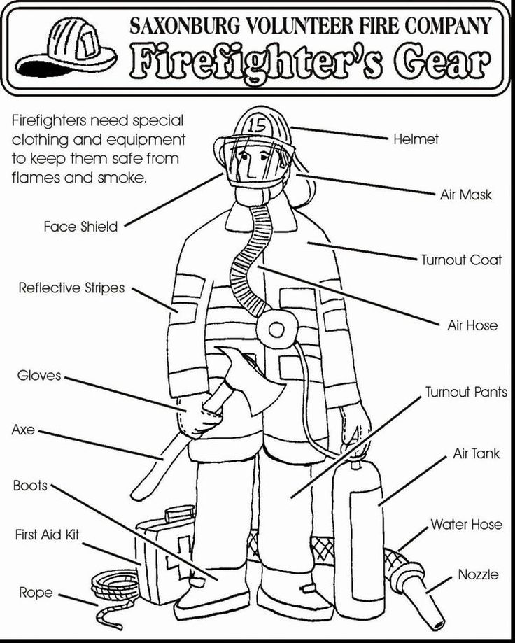Firefighter Equipment And Uniform Coloring Pages (With