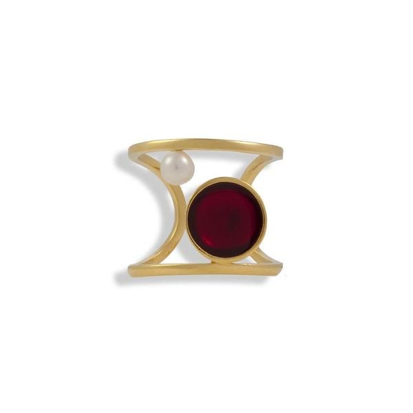 Gold Plated Silver Ring With A Pearl And Red Enamel - Anthos Crafts - 1