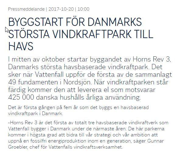 #HornsRev #vindkraftspark till havs https://corporate.vattenfall.se/press-och-media/pressmeddelanden/2017/byggstart-for-danmarks-storsta-vindkraftpark-till-havs/