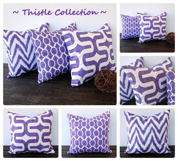 "Purple pillow cover 18"" x 18"" One cushion cover Thistle grape purple pillow sham home decor accent"