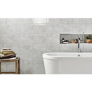 Wickes Mayfield Grey Riven Ceramic Wall & Floor Tile 298x498mm | Wickes.co.uk