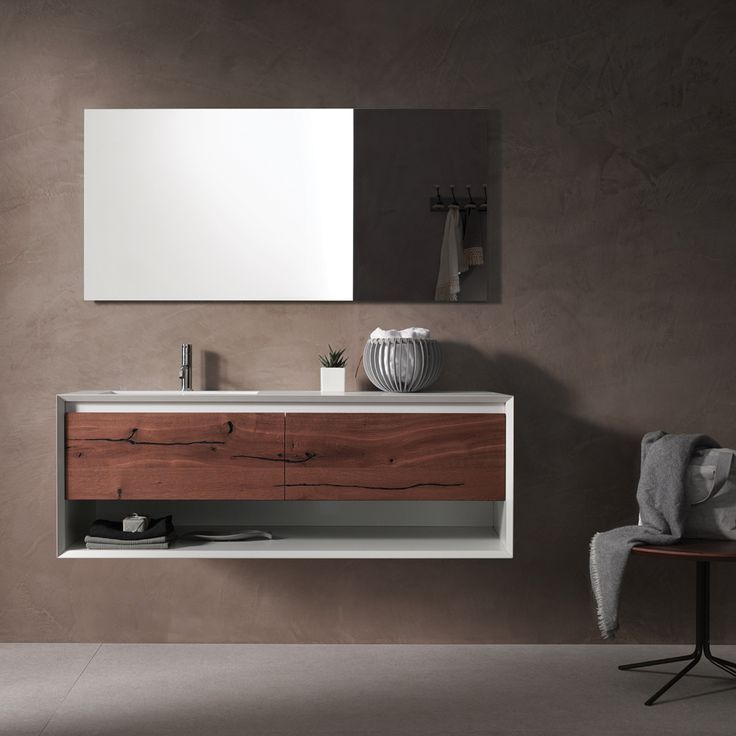 45º furniture collection wall mount vanity offers an unique distressed oak drawer front, which is a definite show-stopper!   #modern #bathroom #vanity #luxury #interiordesign