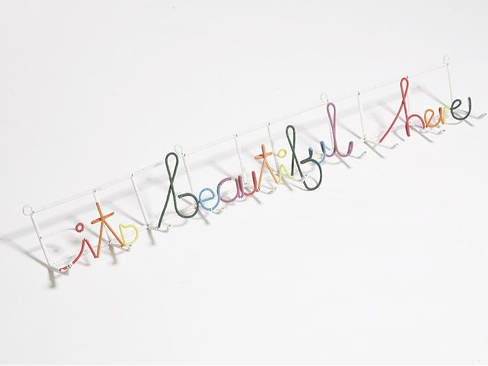 recycled electrical wire hat rack by heath nash...the perfect sentiment for a child's space